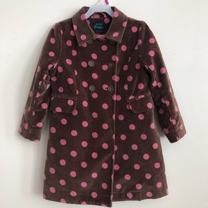 Mini Boden pink polka dot velvet coat 4-5